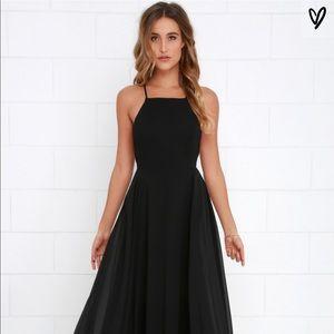 NWT Black chiffon long Lulus dress